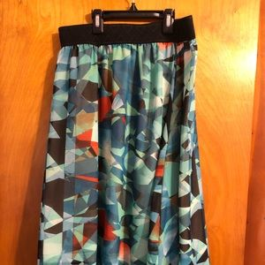 LuLaRoe Jill Belted Skirt with Geometric Shapes